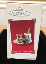 Hallmark 2003 Christmas Ornament Clip On Champagne Newlyweds Our First Chris - $11.88