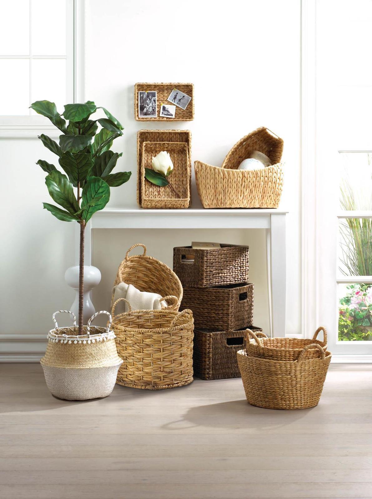 3 Piece Wicker Tray Baskets