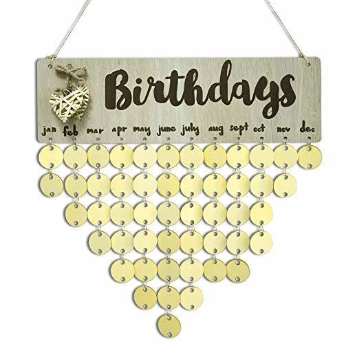 YuQi Wooden Family Birthday Tracker Calendar Board Plaque