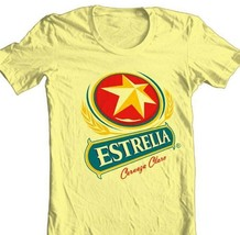 Estrella Cervesa T shirt Mexican beer beach 100% cotton graphic yellow tee image 2