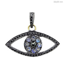 Diamond Pave 14K Gold Evil Eye Charm Pendant .925 Silver Spinel Gemstone... - $219.73