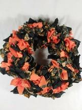 Halloween Handmade Wreath Black Orange Fall Leaves Fabric Squares Gold B... - $23.75