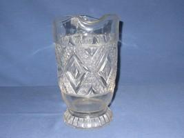 "EAPG Pitcher Grand Diamond Medallion Clear Pressed Glass Pedestal 9"" Tall - $19.79"