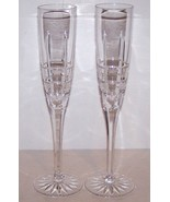 "STUNNING SIGNED CESKA CRYSTAL SOLITAIRE PAIR OF 10 1/2"" CHAMPAGNE FLUTES - $42.07"