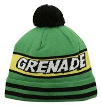 Grenade Comic Striped Knit Pom Pom Winter Hat Beanie Toque - Green - £14.24 GBP