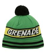 Grenade Comic Striped Knit Pom Pom Winter Hat Beanie Toque - Green - $18.99