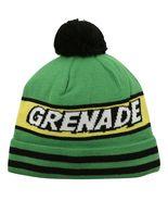 Grenade Comic Striped Knit Pom Pom Winter Hat Beanie Toque - Green - $18.99