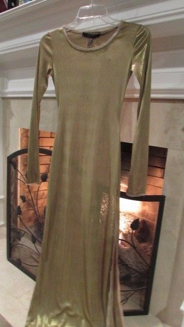 BCBG Maxazria Gold FRESNO Maxi Dress Sz XXS Retail $198.00