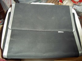 EUC DELL LAPTOP CARRYING CASE w/ MAGNETIC FLIP OVER COVER BLK/SLVR CANVA... - $11.57