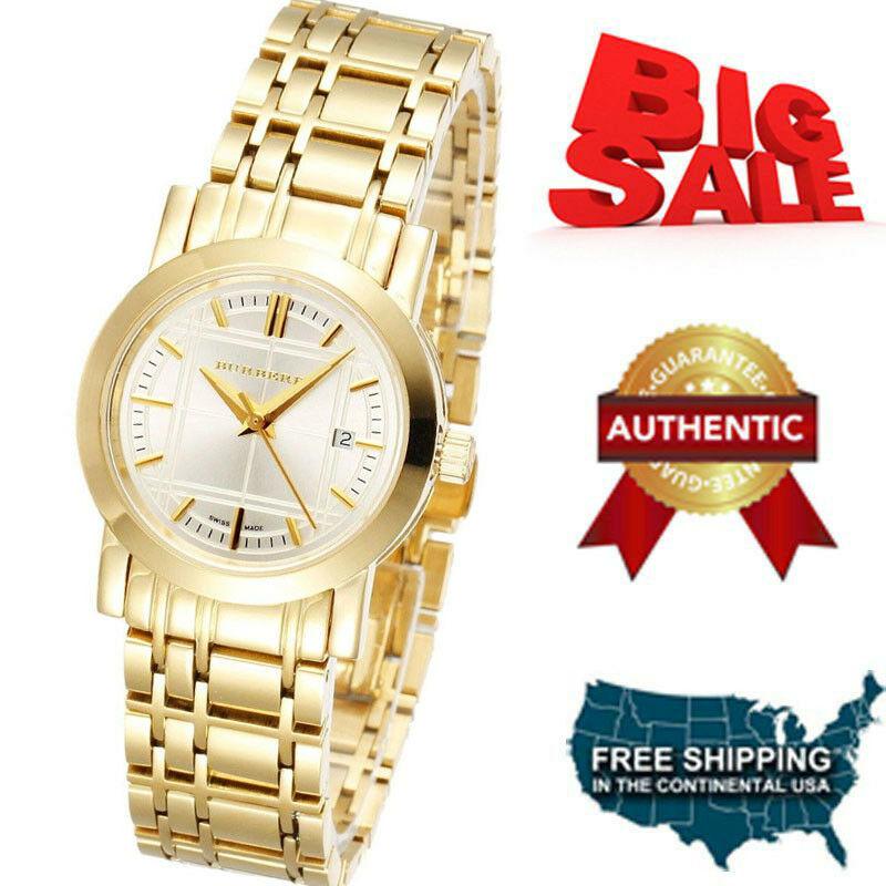 NEW Burberry Watch Women's Swiss Goldtone Stainless Steel Bracelet 28mm BU1394