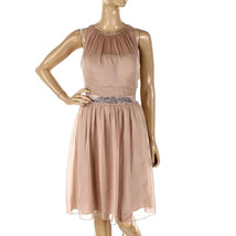 Adrianna Papell Womens Sz 6 Chiffon Embellished Cocktail Beige Dress 2166-3 - $46.27
