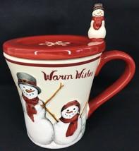Warm Wishes St. Nicholas Square YULETIDE Mug Cup Coaster Set Snowman Fam... - $22.40