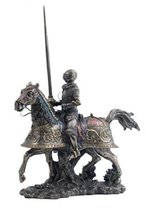 """13.75"""" Medieval Armored Knight & Horse Jousting Statue Lance Figurine Decor - $87.00"""