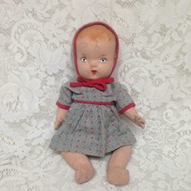 1930s 12-inch Composition Doll in Blue Printed Dress - $47.45
