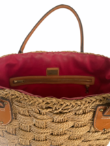 XL Large Woven Ralph Lauren Straw Beach Tote Bag Shopping Shoulder Purse Leather image 9