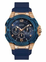 NEW Guess U1254G3 Men's Navy and Rose Gold-Tone Chronograph Watch - £89.13 GBP