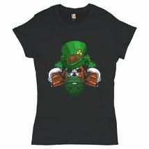Leprechaun Skull Beer Mugs T-Shrit Irish Flag St. Patrick's Day Women's Tee - $13.38+