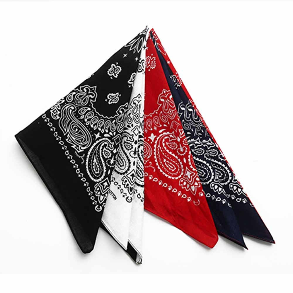 55*55cm Hip Hop Cotton Paisley Bandanas Head Wrap Black Red White etc 10 colors