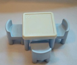 Vintage Little Tikes Dollhouse Blue White Table And 3 Chairs - $12.86