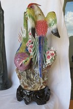 "Important HUGE Paradise Birds Phoenix porcelain statue figure China 23"" ! - $300.00"