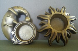 Set of 2 Celestial Sun and Moon Brass Votive Candle Holders - $14.99