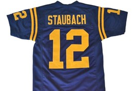 Roger Staubach #12 Navy Men Football Jersey Navy Blue Any Size image 2
