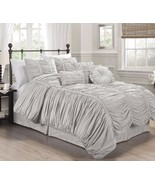 7-Piece Chic Ruched Gray Bedding Comforter Set (with Throw Pillows), Geo... - $74.99+
