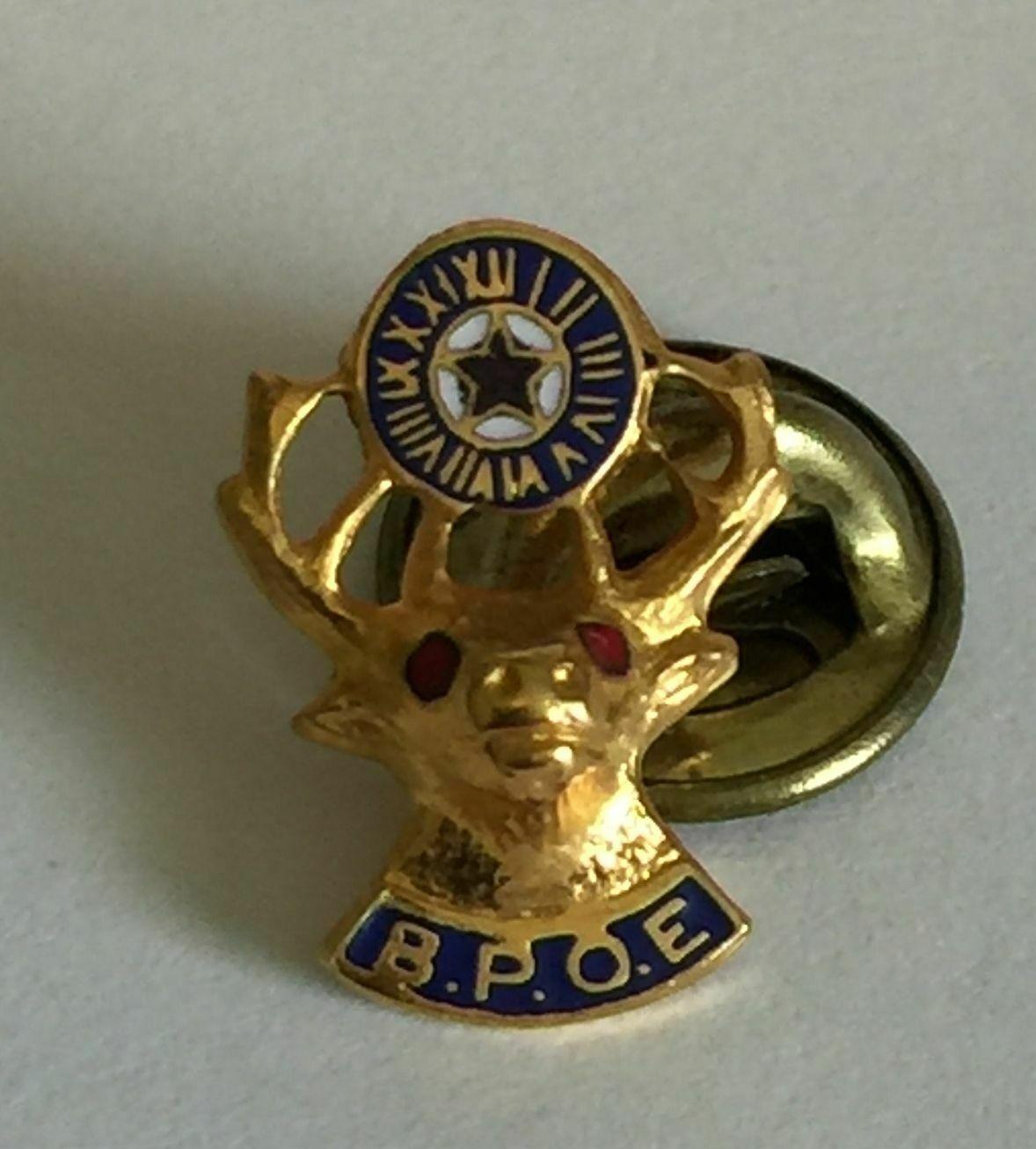 BPOE Lapel Button Pin Gold Tone-Red Eyes & Elks Clock Pin Back Pinback
