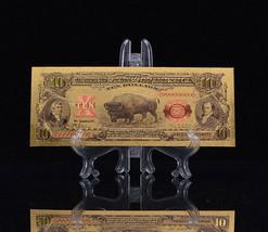 "<X3 BILLS*MINT GEM>1899 ""GOLD""$10 BISON GOLD CERTIFICATE Rep*Banknotes~STU - $21.48"
