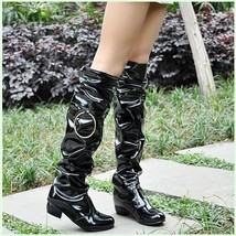 Black Wet Look Patent Leather Zip Up Low Chunk Heel Knee High Motorcycle Boots image 2