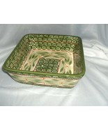 Temp-Tations By Tara Old World Green 2 Qrt Square Bowl Ovenware & Trivet... - $54.45