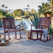 Set of 2 Outdoor Solid Hard Wood Burgundy Red Outdoor Porch Rocking Chairs - $365.80