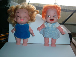 """Vintage 1960's Evergreen Dolls 6"""" Tall   1-mouth open 1 eyes closeed - $4.94"""