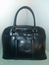 Giani Bernini Glazed Faux Leather Dome Bag Purse w/Detatchable Strap Black  NEW- image 3