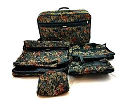 Vintage Jaguar 1980s 5 Piece Green Leaf Tapestry Luggage Set Large Bag w... - $114.18