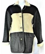 Herman Kay Womens Winter Coat 70% WOOL Blue / Gray 3 Button Jacket Size 8 - $39.59