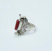 Vintage 925 Sterling Silver Natural Red Coral Ring Size Adjustable - $58.33