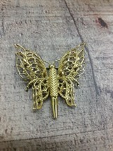 Vintage Signed Monet butterfly gold tone brooch pin - $14.26