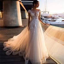 Brnd Designer Sheer Short Sleeves A-Line Wedding Dresses Lace Appliques Formal L