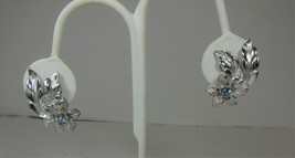 Coro Silver Tone Blue Rhinestone Floral Earrings - $10.89