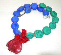 VINTAGE ARTISAN STUDIO GLASS BLUE GREEN RED FLOWER MODERNIST ARTSY NECKLACE - $225.00