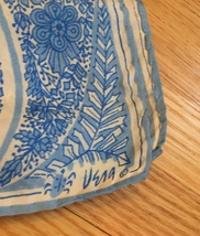 Vintage 60s Vera Neumann square silk scarf (Blue and white large paisley) image 3