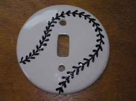 Estate White with Black Stitches Ceramic Baseball Single Lightswitch Plate Cover - $7.69