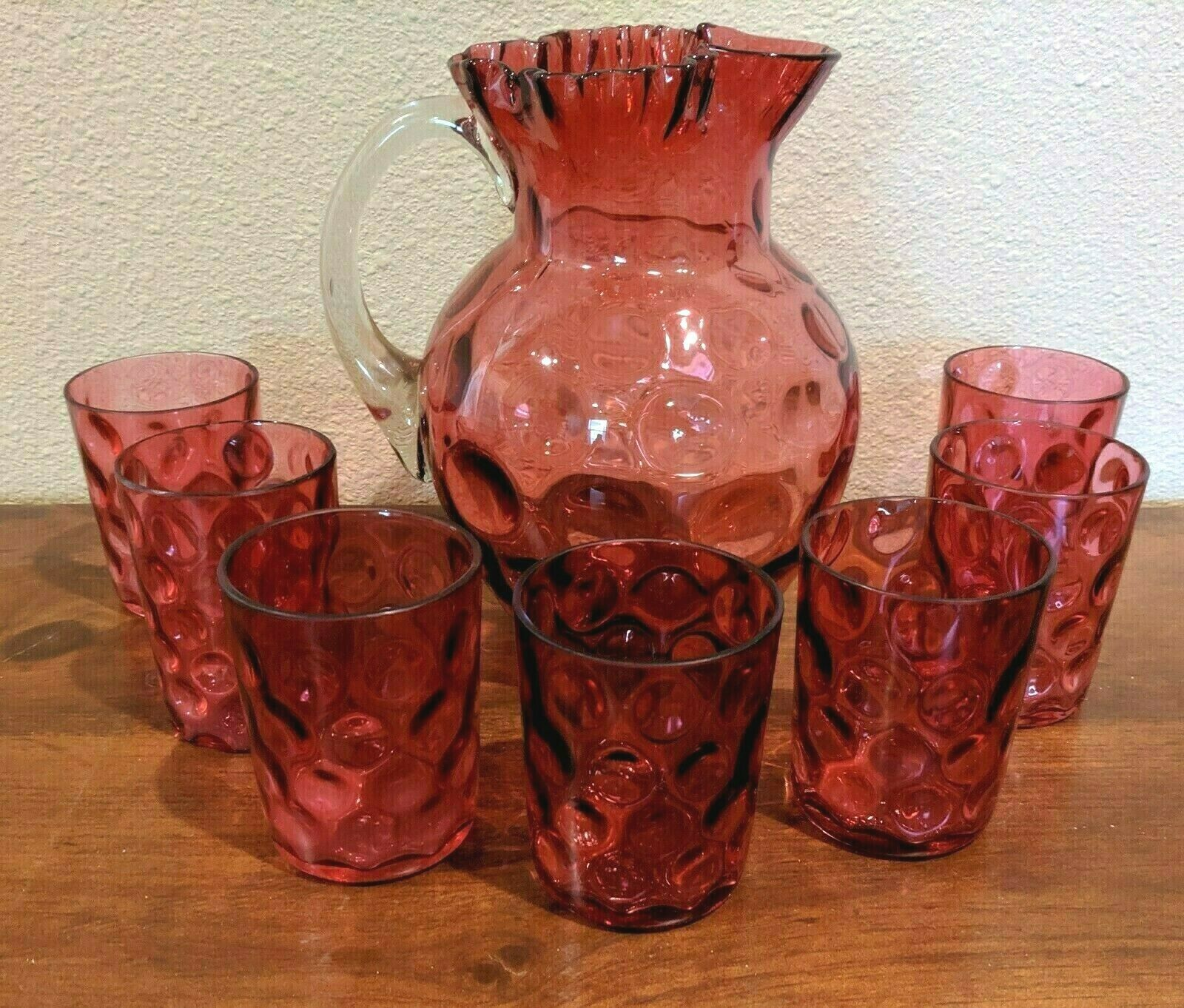 EAPG Cranberry Polka Dot/ Inverted Thumbprint Glass Pitcher, 7 Glasses Northwood - $84.15