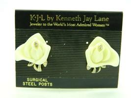 Beige Lucite Rose Flower Enamel Rhinestones Post Earrings KJL Kenneth Jay Lane - $89.09