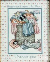 Cross Stitch Catastrophe Bathroom 4 Kittens Cats In Purradise Pillow Pat... - $9.99
