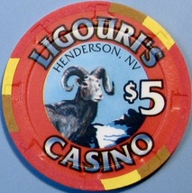 $5 Casino Chip, Ligouri's, Henderson, NV. Jewel of the Desert. W18. - $6.50