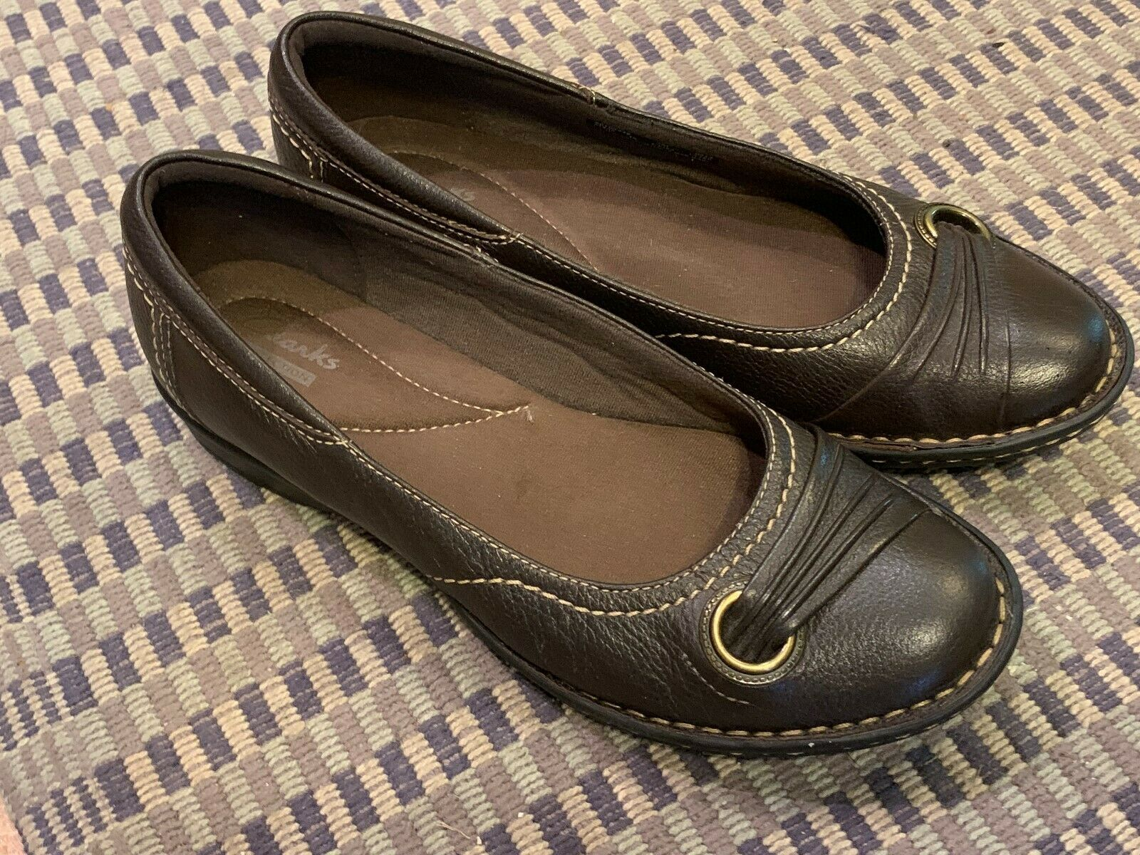 CLARKS RECENT DRIVE DUTCHESS BALLET FLATS 7 M SLIP ON BROWN LEATHER LOAFER LN