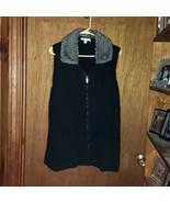 Liz Claiborne New York Black Full Zip Sweater Vest w/ Faux Fur Collar  -... - $29.99