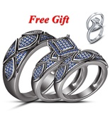 Black Gold Over 925 Silver His & Hers Blue Sapphire Wedding Bridal Ring ... - $184.99